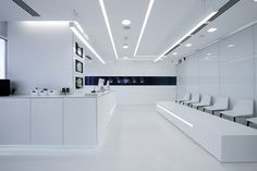 For the future I always think of a stark white look. This is a cool tron-like Laboratory Design Games Design, Flush Door Design, White Lab, Dental Office Design, Clinic Design, Lighting System, Wall Lighting, Retail Design, Store Design