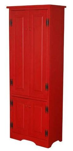 Red Pantry Cabinet With Red Cabinets On Pinterest Red Kitchen Cabinets Red Kitchen And With
