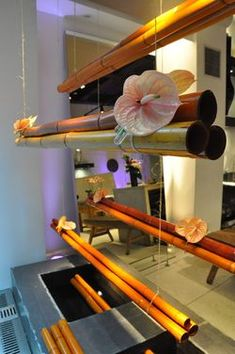 Flowers of the World - NYC - display with bamboo and anthurium