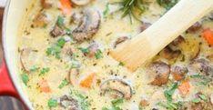 Supă-de-legume-cu-ciuperci Mushroom Soup, Mushroom Recipes, Creamy Chicken, Roasted Chicken, Chicken Pot Pie Soup Recipe, Vegan Vegetable Soup, Stuffed Mushrooms, Stuffed Peppers, Creamy Potato Soup