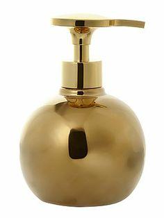 Gold soap dispenser Pirate Bathroom, Gold Bathroom Accessories, Soap Dispenser, Metal, Bathrooms, Decorating, Pretty, House, Home