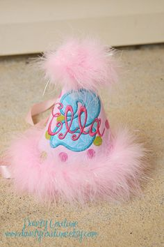 Items similar to Girls First Birthday Party Hat - Sassy Dots in pinks 2fd4d29d50b9