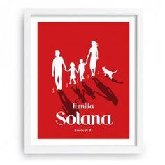 Decorativa y divertida representación de la familia mediante siluetas. Permite introducir hasta 3 hijos y una mascota (perro o gato).- www.miarbolfamiliar.es