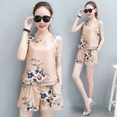 Girl o neck sleeveless blouse top & high waist shorts suit new floral fashion two-piece clothing set women summer clothes Two Piece Clothing Sets, Short Suit, Floral Fashion, Summer Outfits Women, High Waisted Shorts, Outfit Sets, Sleeveless Blouse, Korean Fashion, Dress Up