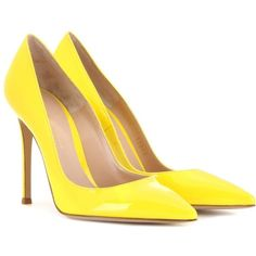 Gianvito Rossi Patent Leather Pumps (€460) ❤ liked on Polyvore featuring shoes, pumps, heels, gianvito rossi, sapatos, yellow, patent shoes, gianvito rossi shoes, yellow heels pumps and heel pump