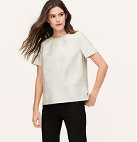 Faux Leather Paneled Tee - We merged a structured faux leather front with a tweedy back, for cleverly modern luxe. Jewel neck. Short sleeves. Zip at back neck. Side slits.