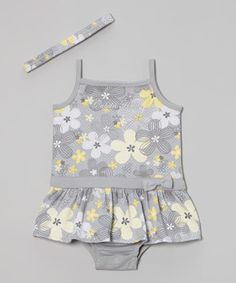 Look what I found on #zulily! Calvin Klein Underwear Gray & Yellow Floral Sunsuit & Headband by Calvin Klein Underwear #zulilyfinds
