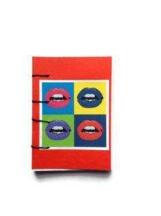 LIPS Pop Art mini coptic journal RED hand bound with от FuNkTjUnK