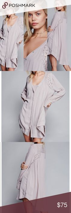Brand New Free People Victorian Shirt Dress Victorian inspired shirt dress pieced with eyelet and lace trim. Brand New with original packaging from Free People Color: Storm Grey Comes from a smoke-free environment, carefully well packaged, and ships out within 24 hrs on weekdays (mon-fri)! Shop with confidence! Top rated seller ✔️ Free People Dresses Long Sleeve