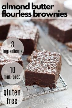 Rich and Fudgy Almond Butter Flourless Brownies are the perfect dessert that come together quickly and are lightened up with a few ingredient swaps! Dessert Recipes For Kids, Make Ahead Desserts, Clean Eating Desserts, Healthy Dessert Recipes, Eating Healthy, Easy Desserts, Delicious Desserts, Chocolate Chip Blondies, Semi Sweet Chocolate Chips