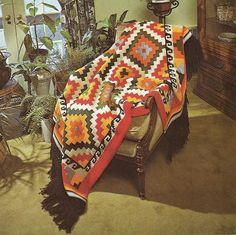 """Geometric Indian Afghan Crochet Pattern Native American Throw Blanket Home Decor 51"""" x 72"""" by PatternMania3 on Etsy"""