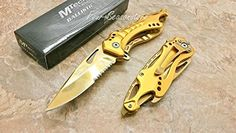 "SPRING ASSISTED KNIFE 4.5"" CLOSED GOLD TITANIUM COATING HALF SERRATED STAINLESS STEEL BLADE GOLD TITANIUM COATING ALUMINUM HANDLE GOLD TITANIU..."