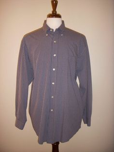 BROOKS BROTHERS Navy Blue Check Long Sleeve Button Down SHIRT Men's L #BrooksBrothers