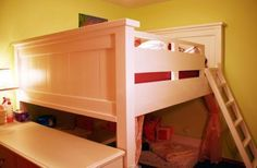 DIY Furniture : DIY Farmhouse Loft Bed for Double Mattress, Not too low, not too tall!