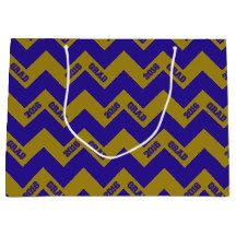 2016 Grad Chevron-Blue-Gold-GIFT BAG L #2016grad #chevron #giftbags #blue #gold