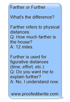 Farther or Further - Commonly Confused Words A difference that I utlized, but never thought much about. Language is beautiful. English is beautiful.