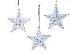 Set of 3 distressed wooden barn stars each star measures 24cm x 24cm