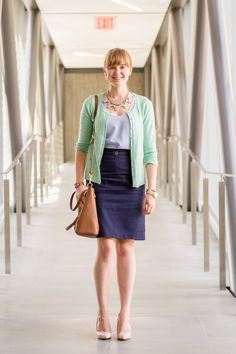 Mint cardigan with navy pencil skirt and nude heels.