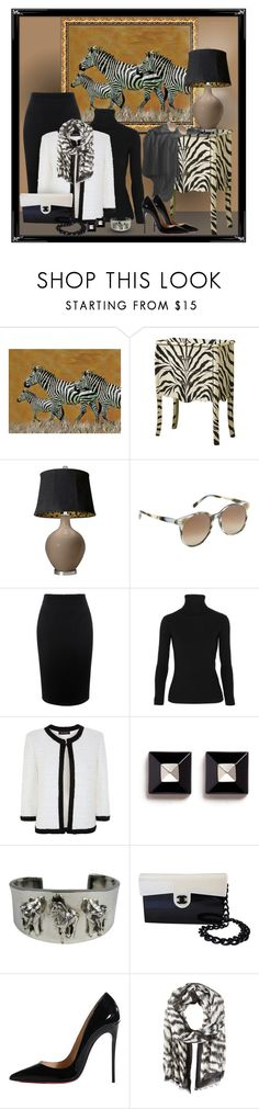 """""""Zebra"""" by regatta-1 ❤ liked on Polyvore featuring Monarch, Prism, Alexander McQueen, Acne Studios, St. John, Givenchy, Carol Felley, Christian Louboutin, Ellen Tracy and white"""