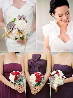 Bridesmaids in purple with red and white flowers