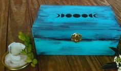 Turquoise Vintage Moon Phase Stash Box | Distressed Wood Decor | Distressed Paint | Moon Herb Box | Moon Phase Witch Box | Crystal Box Wooden Box Crafts, Cigar Box Crafts, Painted Wooden Boxes, Painted Jewelry Boxes, Wood Boxes, Hand Painted, Wooden Keepsake Box, Keepsake Boxes, Diy Painting
