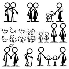 Stick figure Family Love | Stock Illustration | iStock | how2draw ...