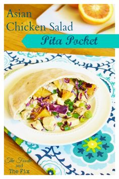 Easy and Flavorful Asian Chicken Salad Pita! - 21 Day Fix: 1 RED, 1/2 PURPLE, 1/2 GREEN, 1 ORANGE, 1/2 YELLOW