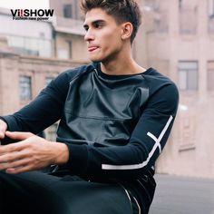 Viishow outono dos homens camisola Pollover homens roupas esporte com capuz jaqueta de couro Men paletó para Hip Hop Streetwear Plus Size em Moletons de Moda e Acessórios para Homens no AliExpress.com | Alibaba Group