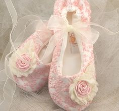 Bridal Flats- Ballerina Slippers in Blush Pink with Embroidered lace and Handmade Flowers