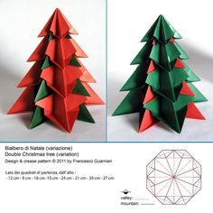 Maybe black gold and red combo. Origami: Bialbero di Natale, variante - Double Christmas tree, variant: Designed and folded by Francesco Guarnieri, November Origami Modular, Origami Paper Folding, Origami And Quilling, Origami And Kirigami, Diy Origami, Origami Flowers, Origami Envelope, Origami Christmas Tree, Christmas Paper Crafts