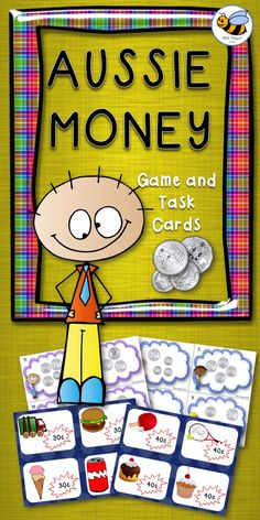 Let's Go Shopping Card Game and  2 sets of Tasks Cards: Counting Coins to 50c and Counting Coins to $1.00 with recording sheets.  Use the Task Cards in Math Centres, for small group work or as Scoot Cards. Recording sheets included. A perfect supplement to ant money program in Year 1 or 2.