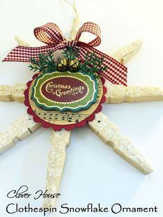 how to make a clothespin snowflake ornament, christmas decorations, crafts, repurposing upcycling, seasonal holiday decor