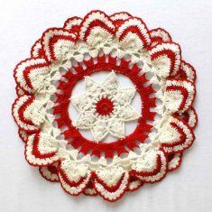 """PT020 Vintage Ripple Edged Doily Crochet Pattern- The Vintage Ripple Edged Doily Pattern is a simple flower crochet pattern that is easy to  make and suitable as a gift for a dear person. It�s not necessarily hard to make, but it will require a lot of attention and a trained hand to work with all the details of this crochet pattern. Size:About 10"""" diameter."""
