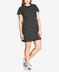 City Chic Trendy Plus Size Striped T-Shirt Dress | macys.com