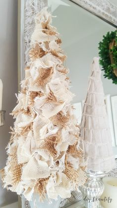 Canvas drop cloths are inexpensive and you can make so many things out of them. Click over to find 30 drop cloth projects you can make today! Burlap Christmas Decorations, Burlap Christmas Tree, Fabric Christmas Trees, Rustic Christmas, Simple Christmas, Christmas Time, Christmas Swags, Halloween Decorations, Thanksgiving Decorations