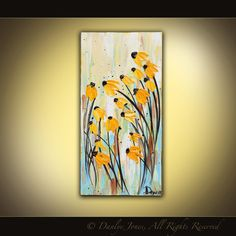 Black-Eyed Susans    10x20 gallery wrapped canvas    Acrylic on Canvas    The work is on stretched, gallery wrapped canvas. It is protected with a gloss varnish. The sides are painted so its ready to hang!    ******************************************************  Shipping:    Your painting will ship UPS or Fedex ground with insurance and delivery confirmation included. Shipping to Canada: Via USPS Priority Mail.  If your country is not listed please contact me for rates…