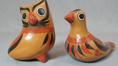 Tonala Mexican Burnished Pottery Bird and Owl  by SlyfieldandSime, $40.00