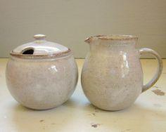 White Cream and Sugar Set $44.00 #housewares #ceramic