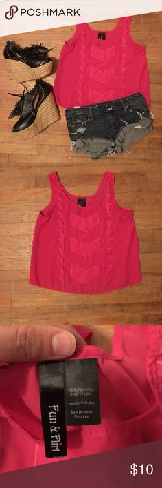 Pink Tank Top In great condition! Only work a couple times. 100% polyester. Machine wash with cold like colors. Do not bleach. Tumble dry low & iron when needed. Great for summer! Shoes & shorts also available in my closet. Wear out with friends or at the beach.  NO TRADE! Bundle 3+ items for 15% off Tops Tank Tops