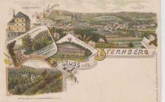 Šternberk, více pohledů, pohled na město a místní Paris Skyline, Vintage World Maps
