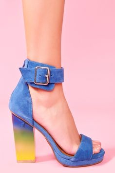 Soiree Platform in Blue Suede