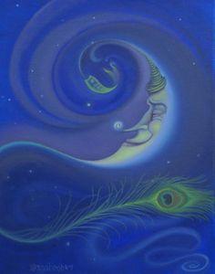 Moon Oil Paintings | Yin Yang Moon Painting by Suzn Smith - Yin Yang Moon Fine Art Prints ...