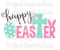Happy Easter SVG, DXF, EPS, png Files for Cutting Machines Cameo or Cricut - Easter svg, Cross svg, Bunny svg, Easter Egg svg