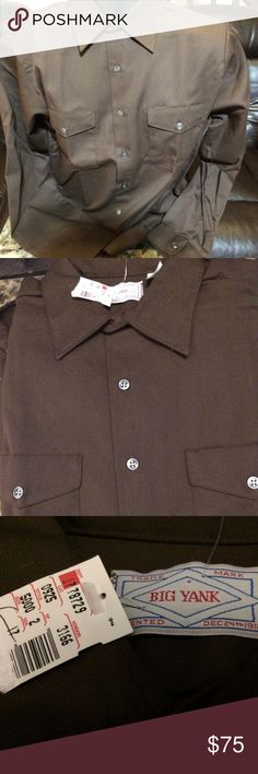 Vintage Big Yank 2 Pocket Work Shirt New Tag sz L Vintage Big Yank 2 Pocket Work Shirt New Tag sz L 1970s Made in USA Union Made Brown Work Shirt from Big Yank.  New old Stock! 16 - 16 1/2  Length:  35 Big Yank Shirts Casual Button Down Shirts