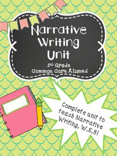 "Use this Unit to teach narrative writing. (W.5.3)Includes:Standards Page- Tells students the standard they are working on, ""I Can"" statements, and vocabulary words for the unit""I Can"" Checklist- Students can keep track of what they are learning by checking off a skill as they master it."