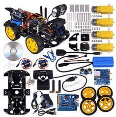 kuman Wi-fi Robot Car Kit for Arduino, 4 Wheel Utility Vehicle Wifi Intelligent Robotics Ds Robot Hd Camera Wireless Robot Smart Car Kit Robot Technology, Technology World, Arduino Parts, Robot Classroom, Electronics Mini Projects, Simple Arduino Projects, Robot Programming, Learn Robotics, Mobile Robot