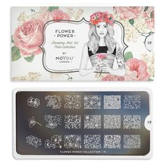 This collection features hippie-style flowers, modern motifs and blooms. We have floral nail art plates for any look.