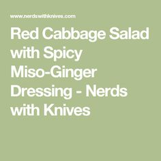 Red Cabbage Salad with Spicy Miso-Ginger Dressing - Nerds with Knives