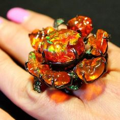 Lydia Courteille's latest Gardens of Xochimilco ring, which features this incredible Mexican fire opal that Lydia herself describes as 'one of the best I have seen in my life'.