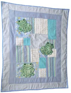 Frog quilted baby blanket by specialgift on Etsy, $40.00